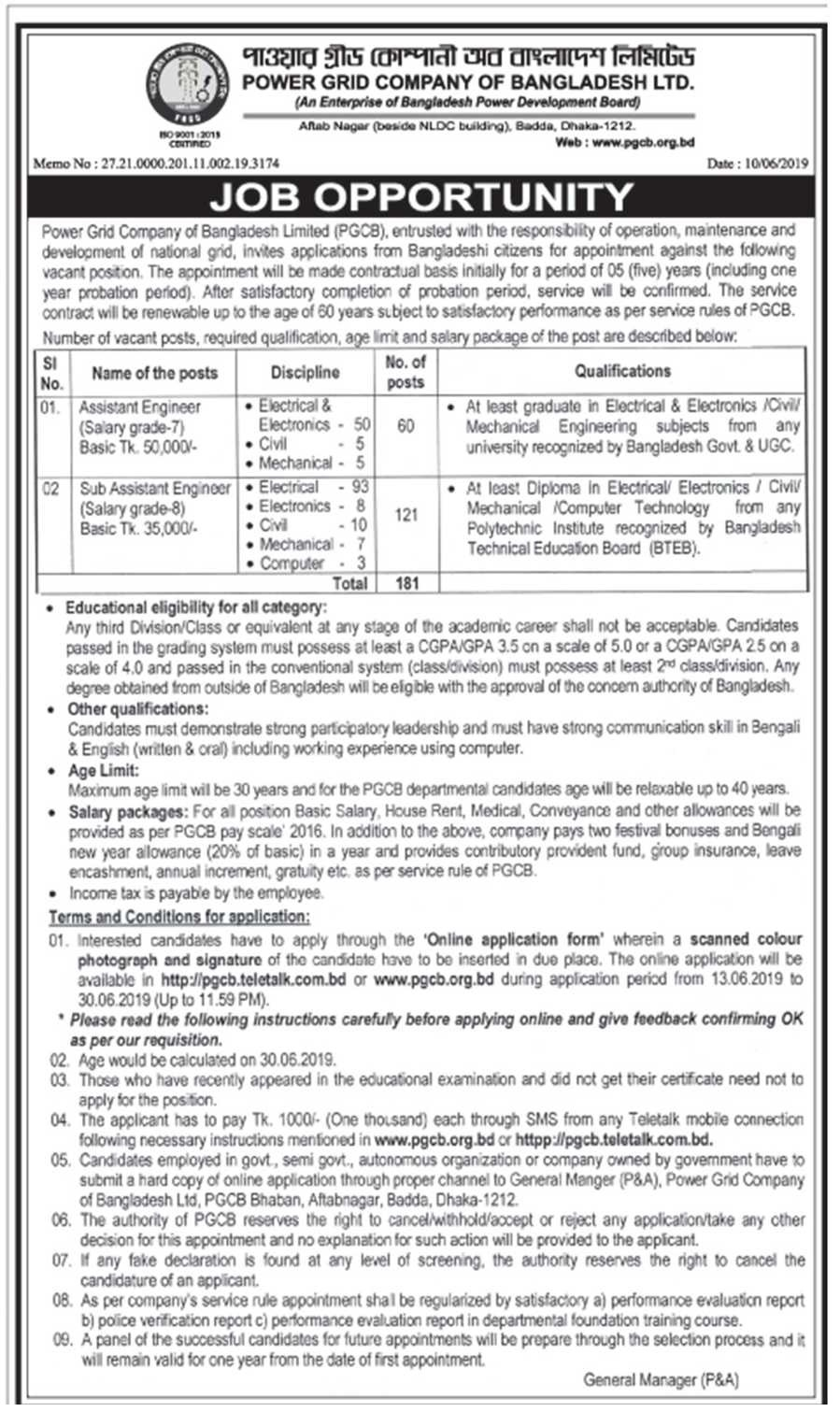 Power Grid Company Bangladesh Job Circular 2019
