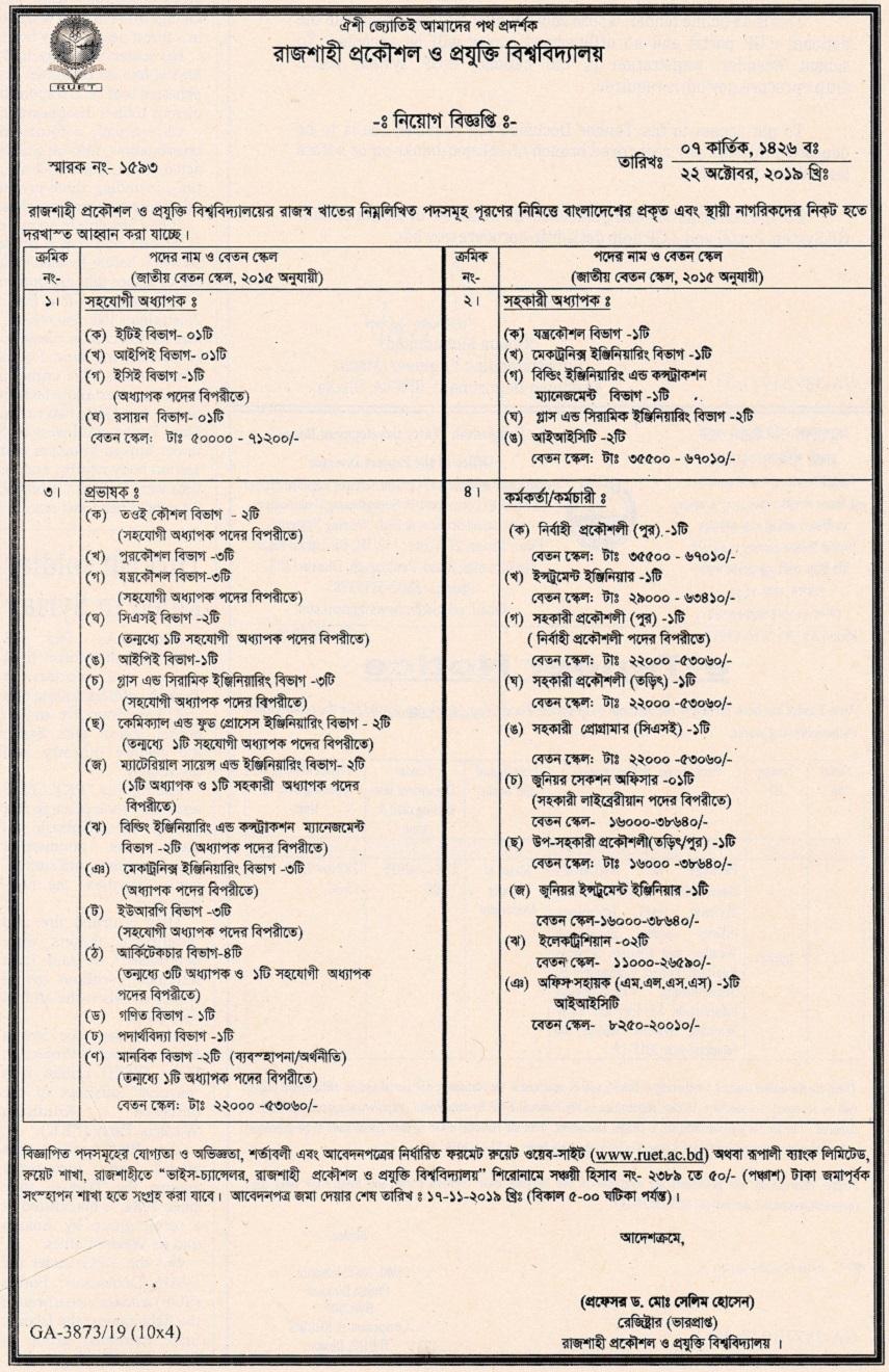 Rajshahi University of Engineering & Technology (RUET) Job Circular 2019