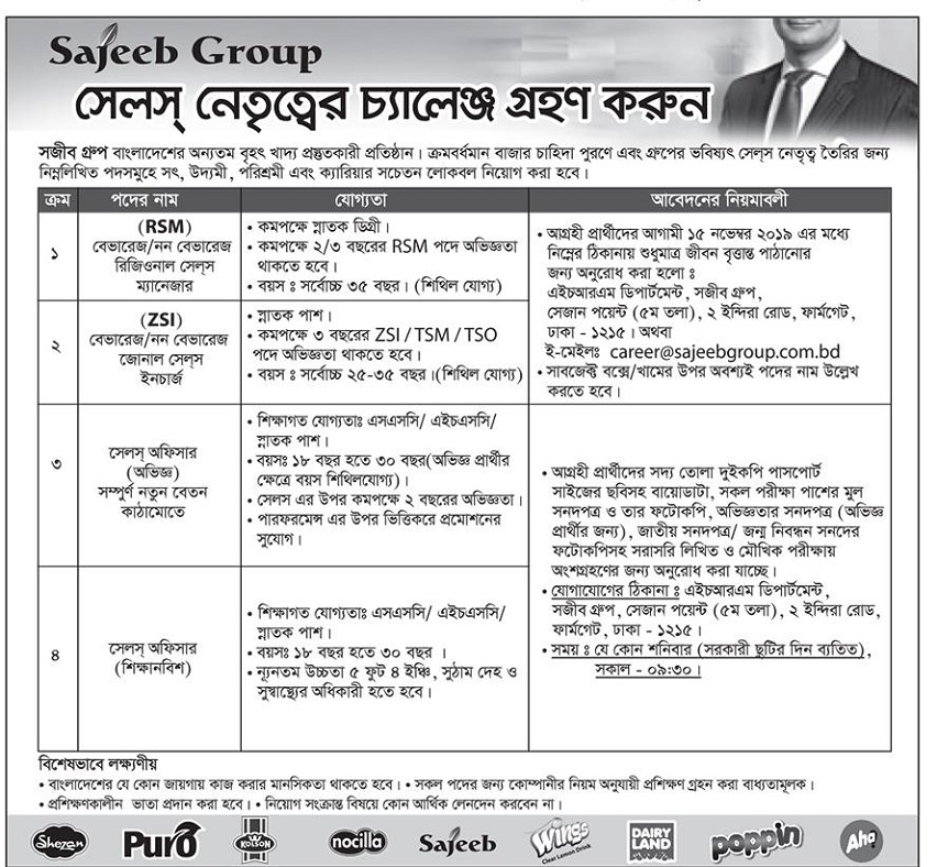 Sajeeb Group Job Circular 2019
