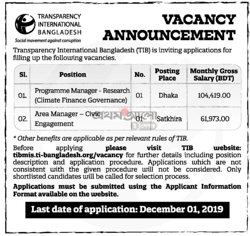 Transparency International Bangladesh Job Circular 2019