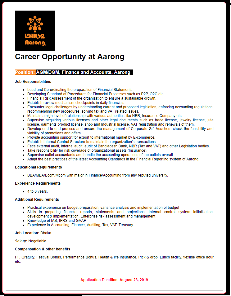 Aarong Job Circular 2019