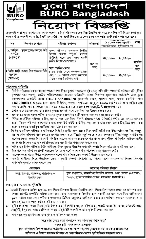 BURO Bangladesh NGO Job Circular 2019