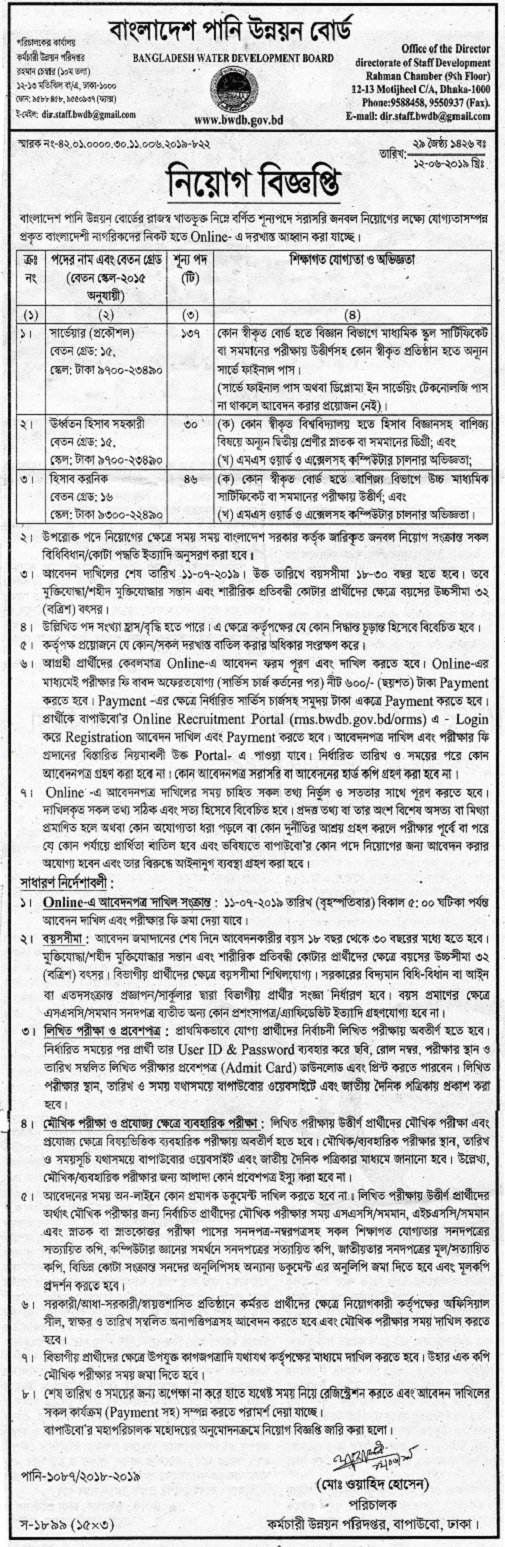 Bangladesh Water Development Board Job Circular 2019