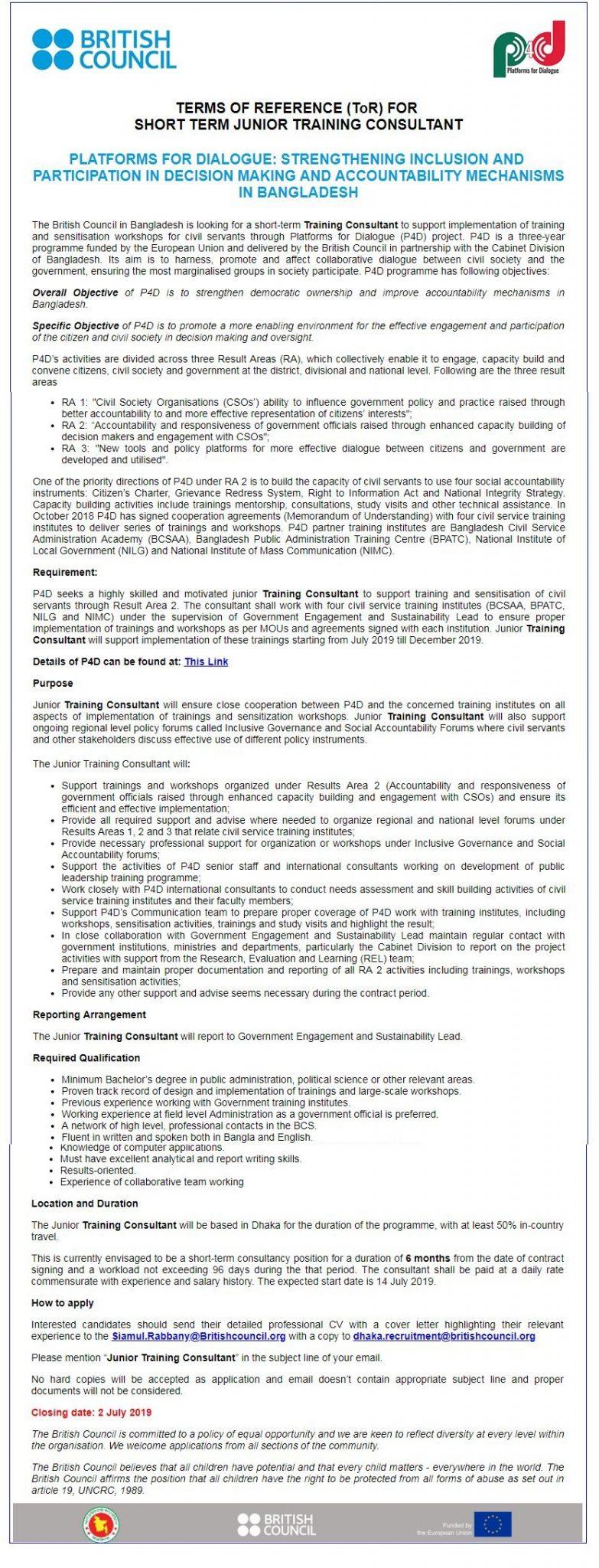 British Council Job Circular 2019
