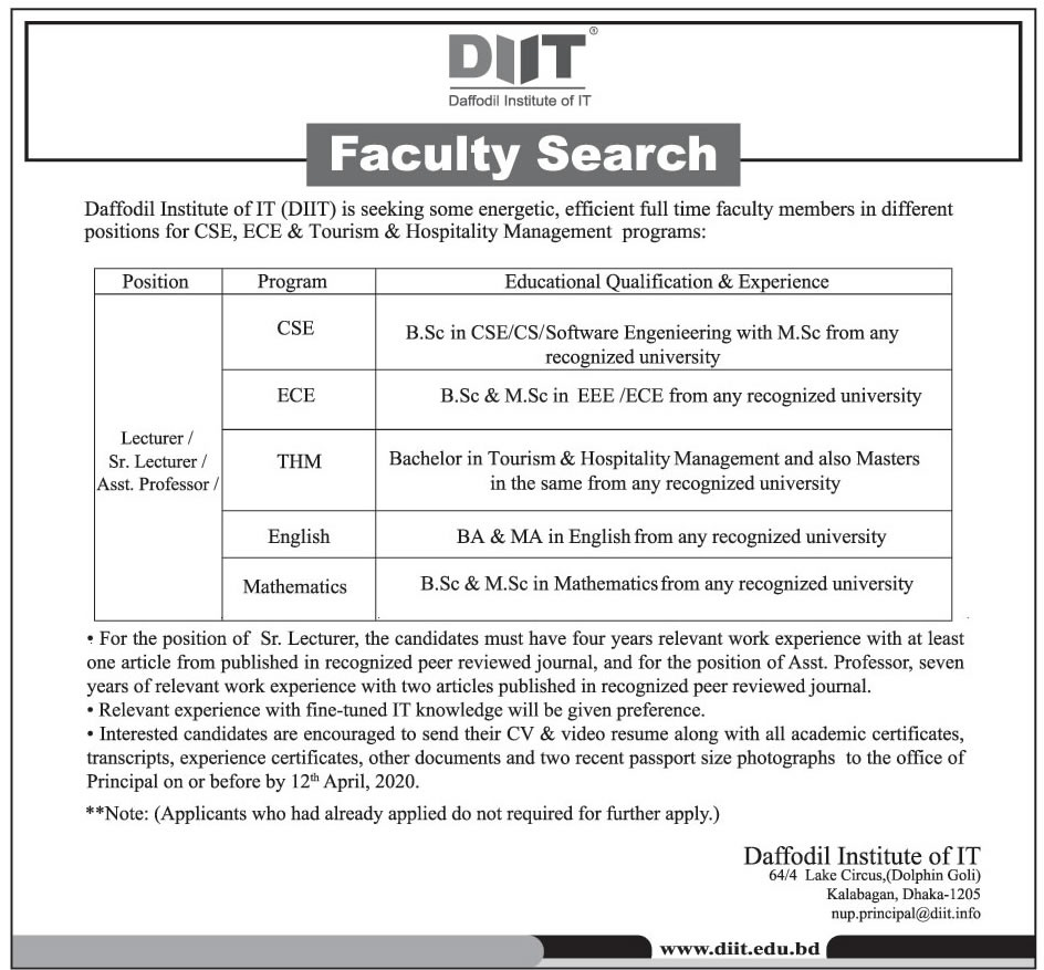 Daffodil International University Job Circular 2020