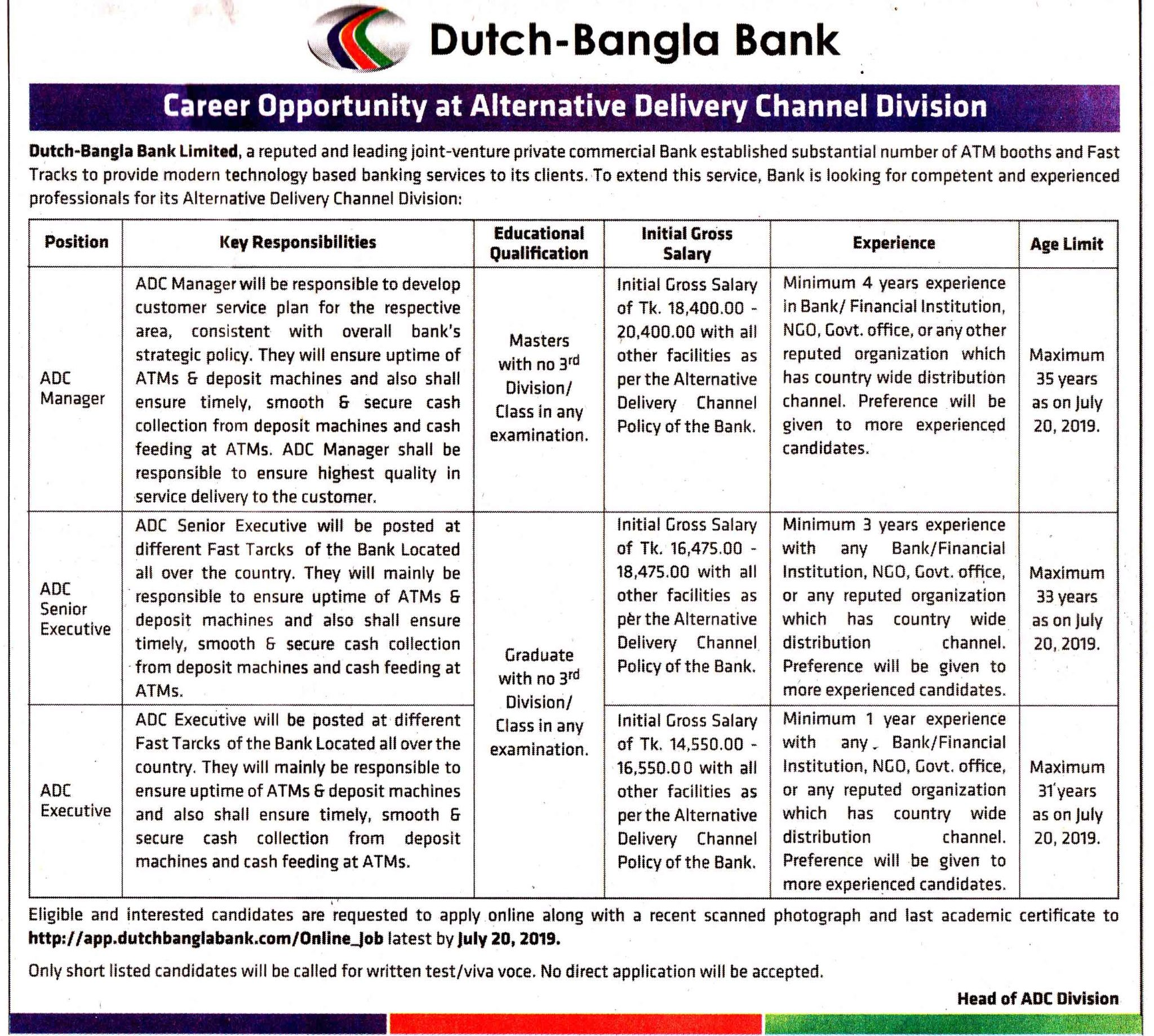 Dutch Bangla Bank Limited Job Circular 2019