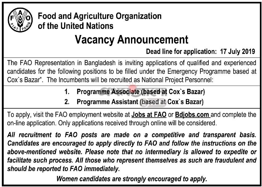 Food and Agriculture Organization (FAO) Job Circular 2019