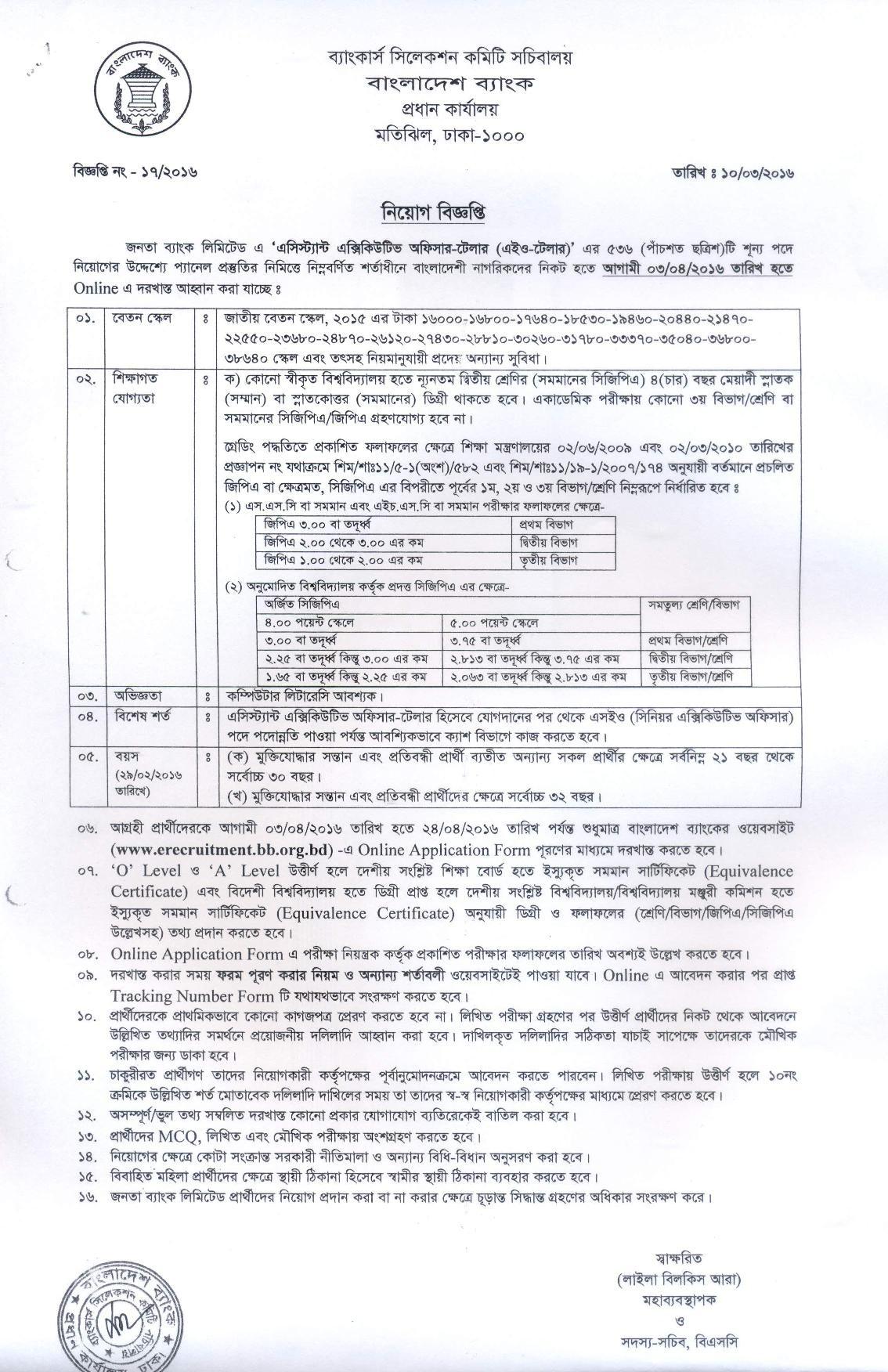 Janata Bank Limited job circular 2019