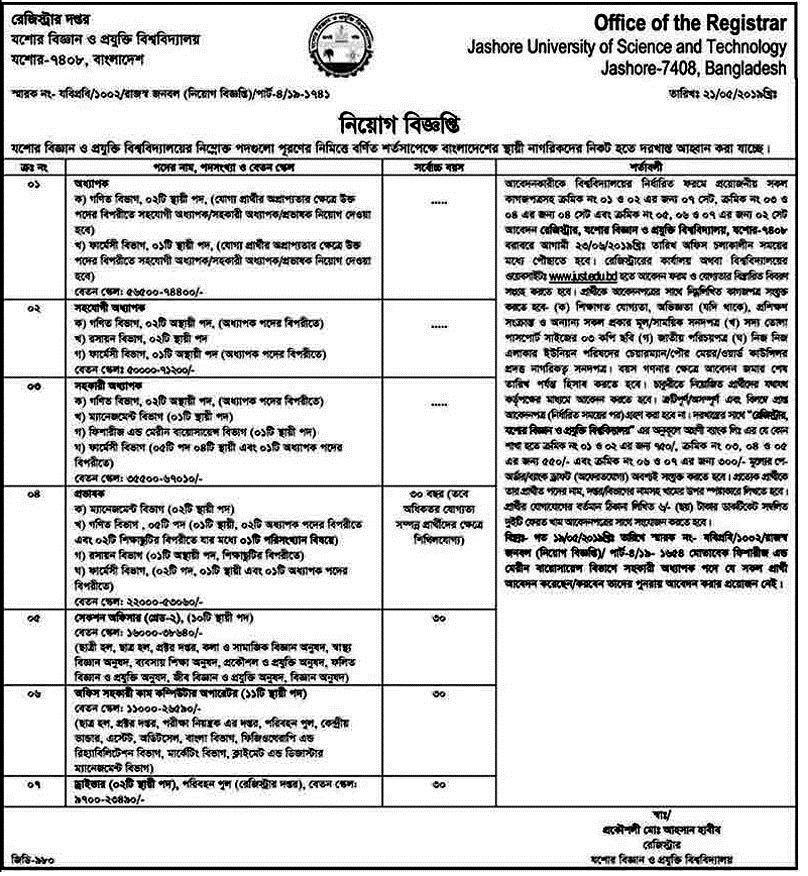 Jessore Science and Technology Jobs Circular 2019