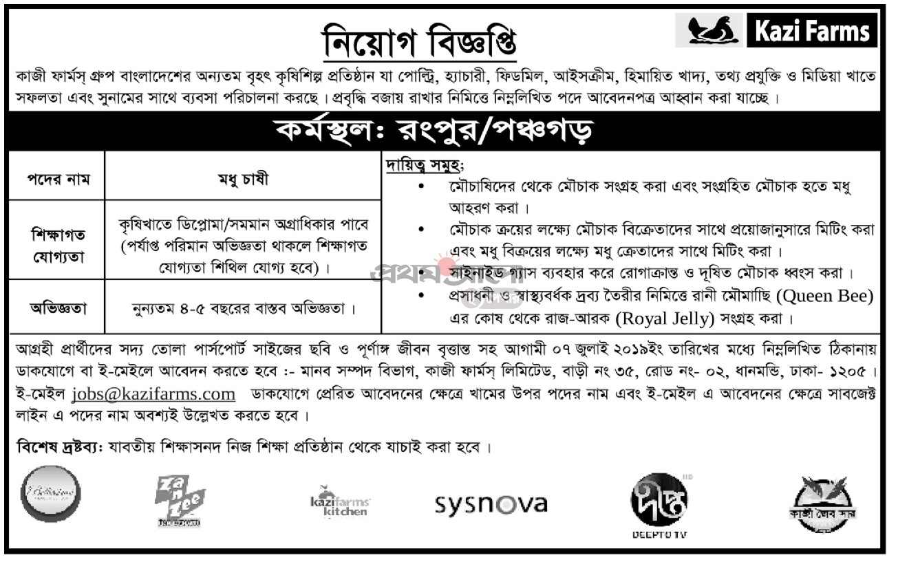Kazi Farms Job Circular 2019