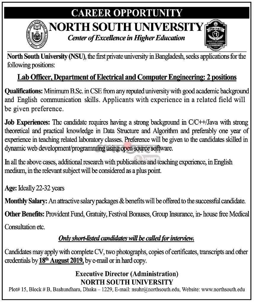 North South University NSU Job Circular 2019