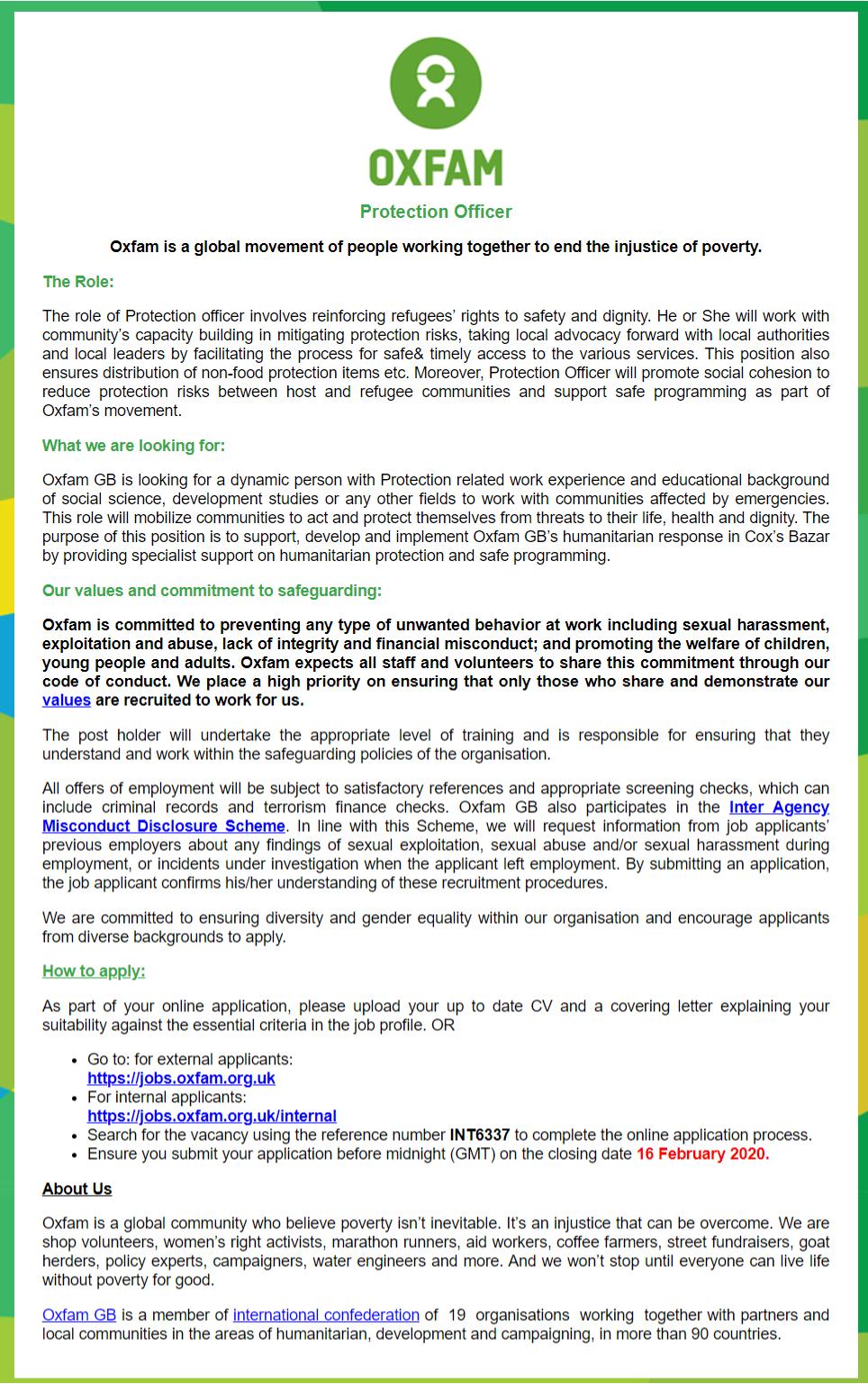 Oxfam Bangladesh Job Circular 2020