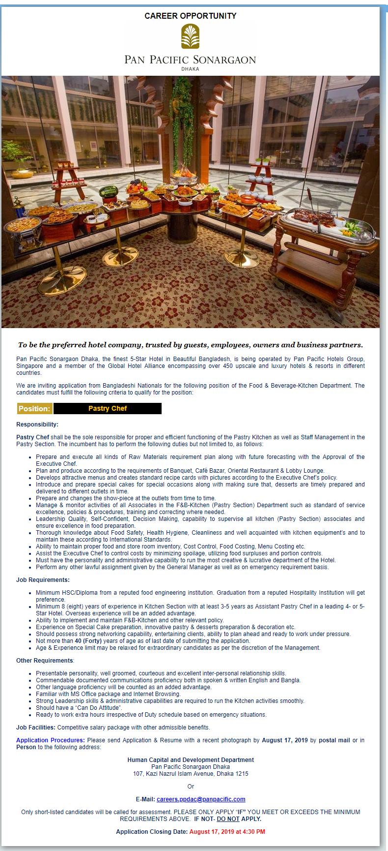 Pan Pacific Sonargaon Hotels and Resorts Job Circular 2019