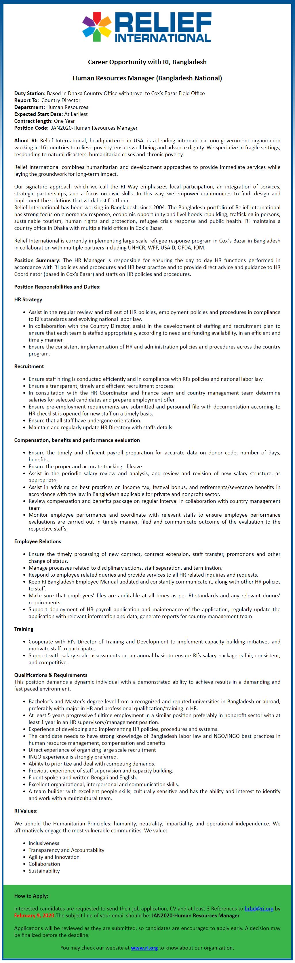 Relief International (RI) Job Circular 2020