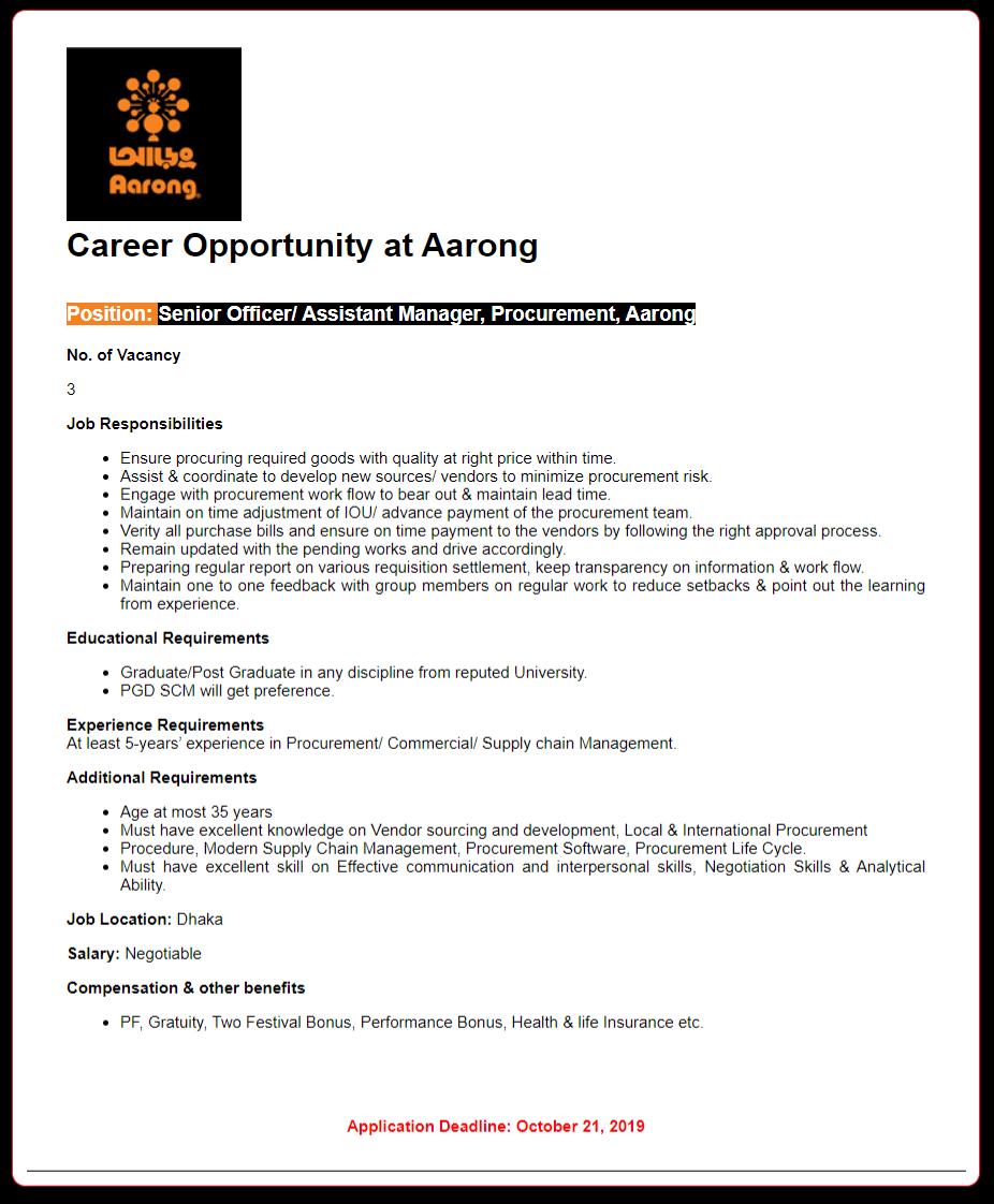 Aarong Job news