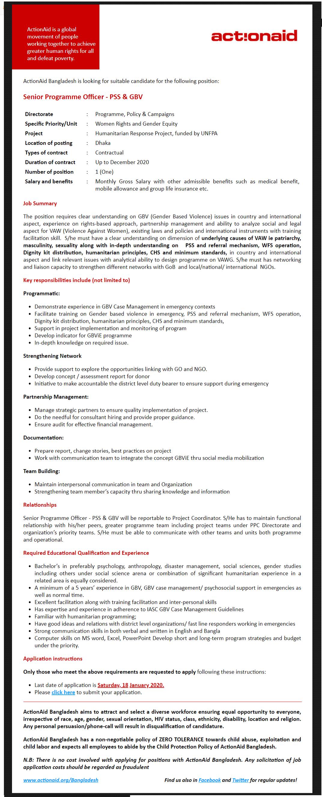ActionAid Bangladesh Job Circular 2020