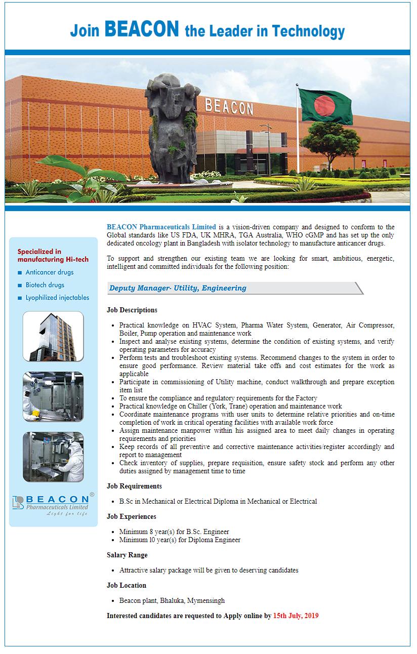 BEACON Pharmaceuticals Limited Job Circular 2019