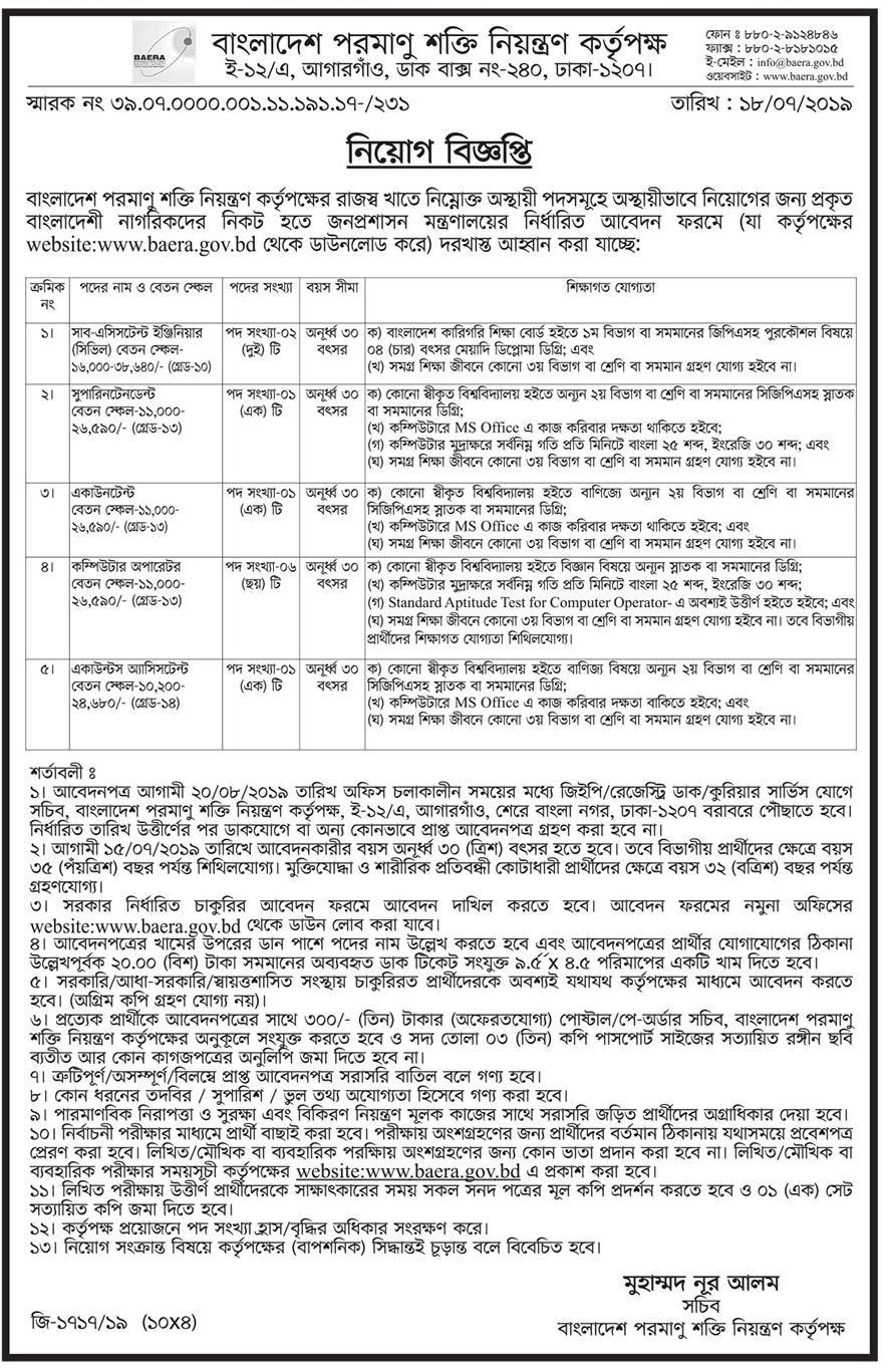 Bangladesh Atomic Energy Commission Job Circular 2019