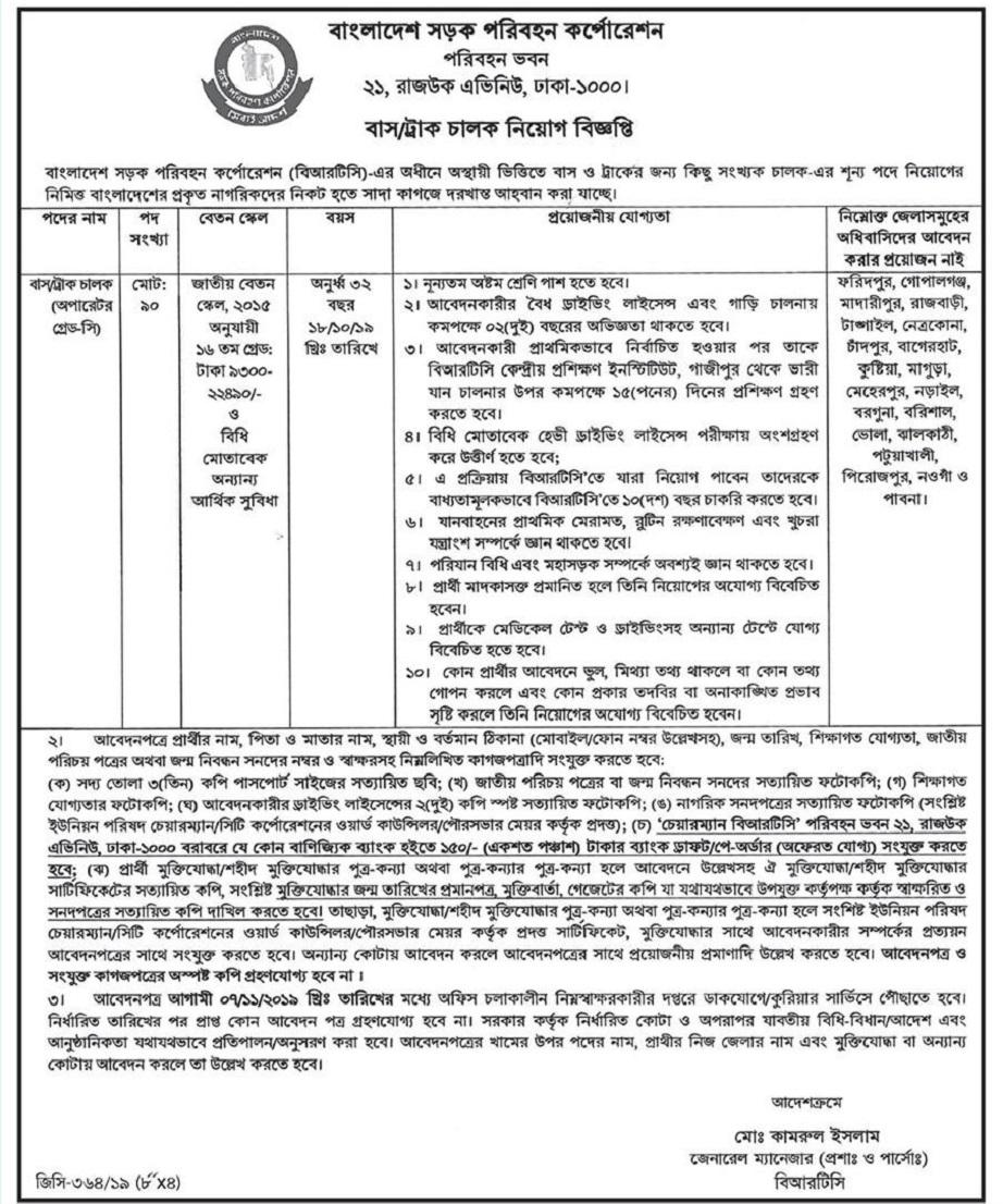 Bangladesh Road Transport Corporation (BRTC) Job Circular 2019