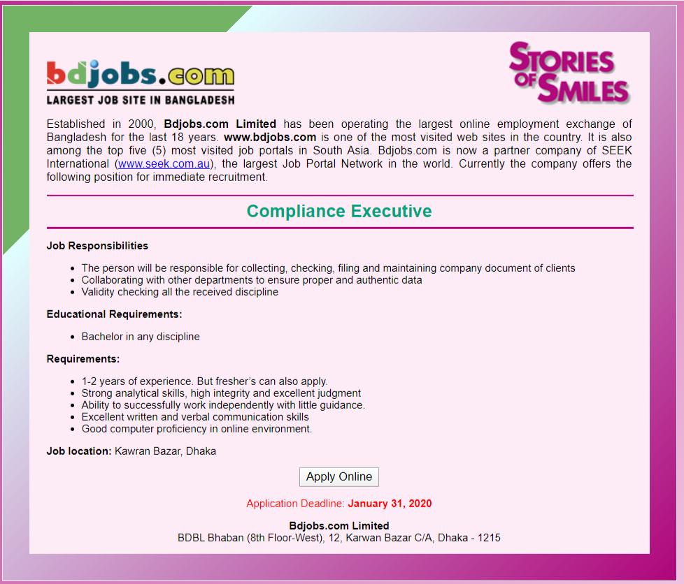 Bdjobs.com Job Circular 2020