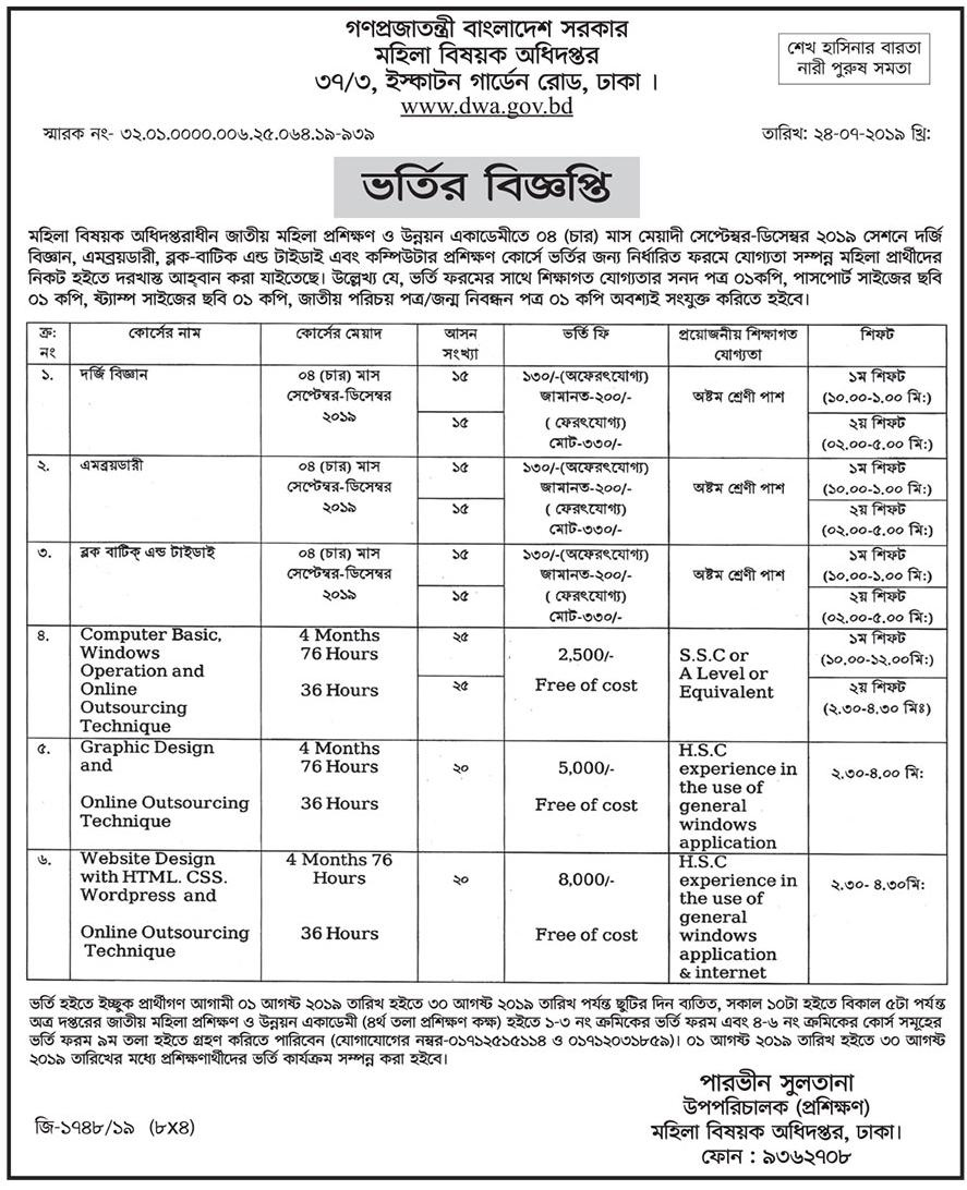 Directorate of Women Affairs Job Circular 2019