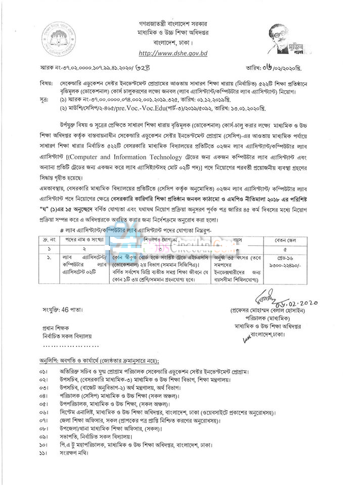 Directorate of Secondary and Higher Education (DSHE) Job Circular 2020
