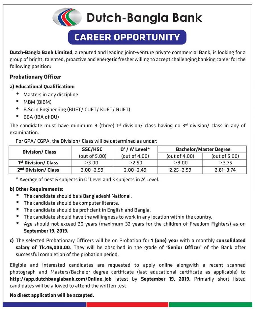 Dutch Bangla Bank Limited Job Circular 2019 | BD Jobs Careers