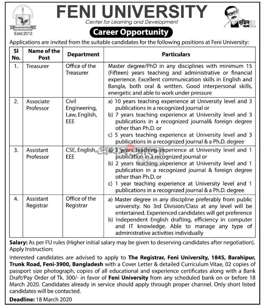 Feni University Job Circular 2020
