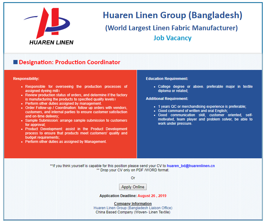 Huaren Linen Group Job Circular 2019