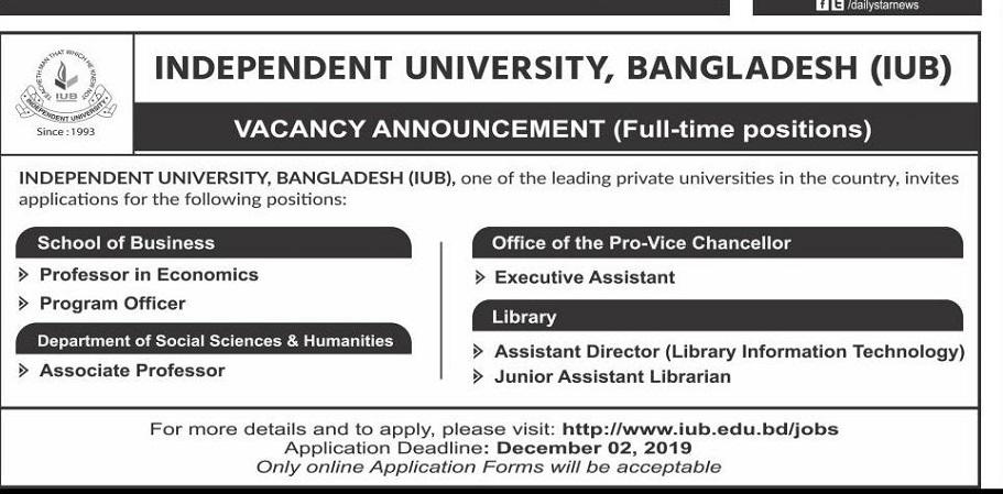 Independent University Bangladesh (IUB) Job Circular 2019