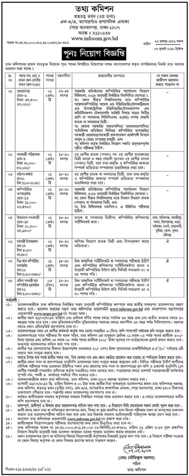 Information Commission Job Circular 2019