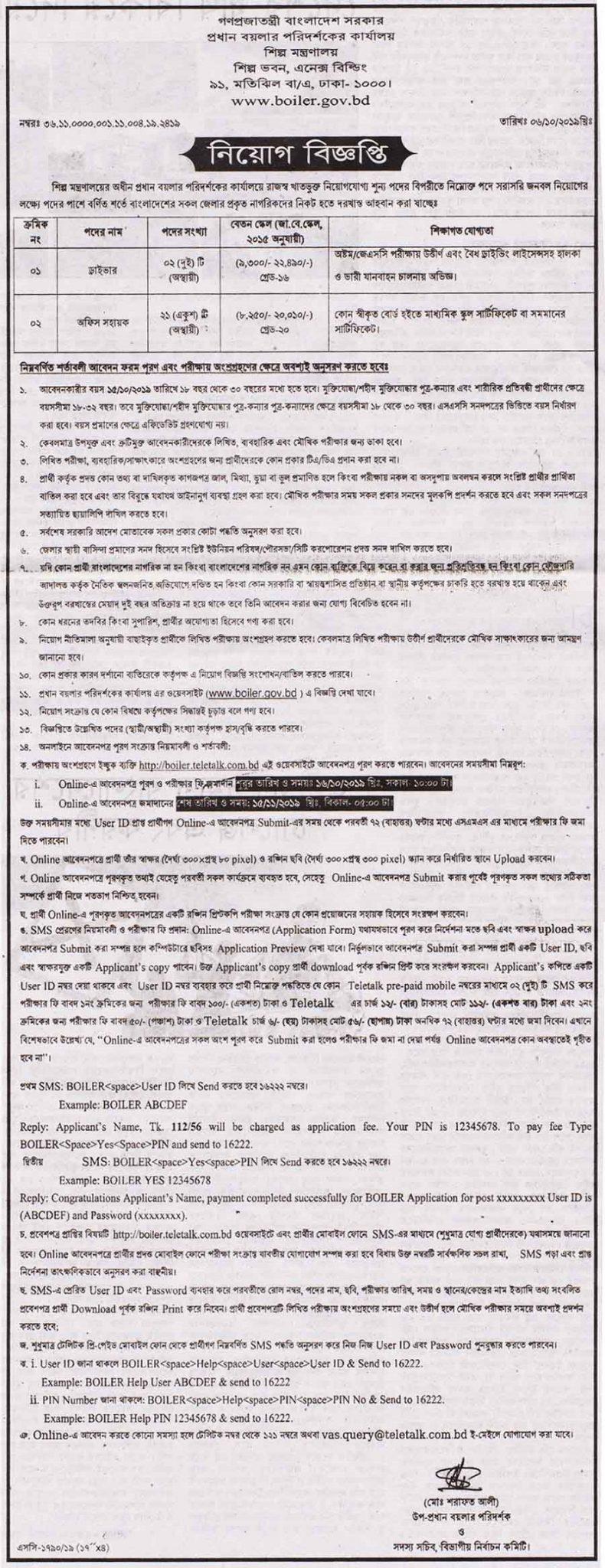 Ministry Of Industries Job Circular 2019
