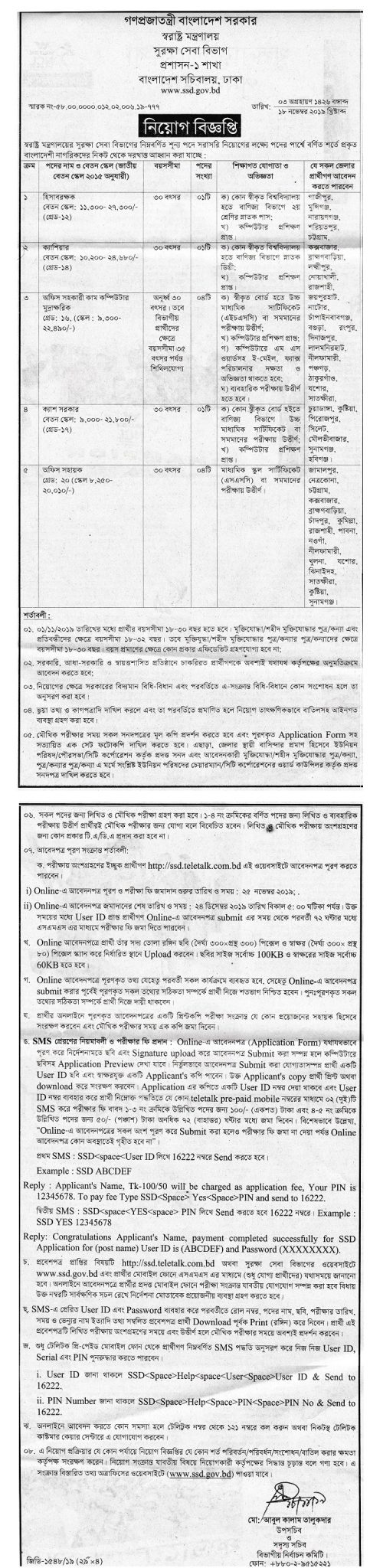 Ministry of Home Affairs Job Circular 2019