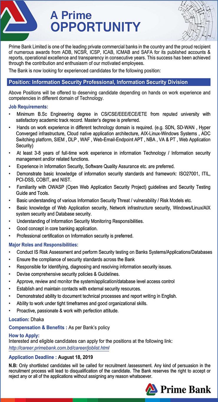 Prime Bank Limited Job Circular 2019