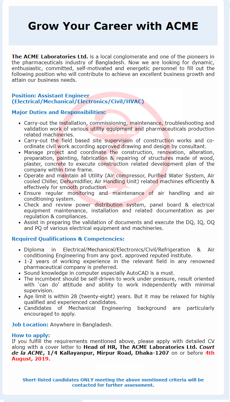 The ACME Laboratories Ltd Job Circular 2019