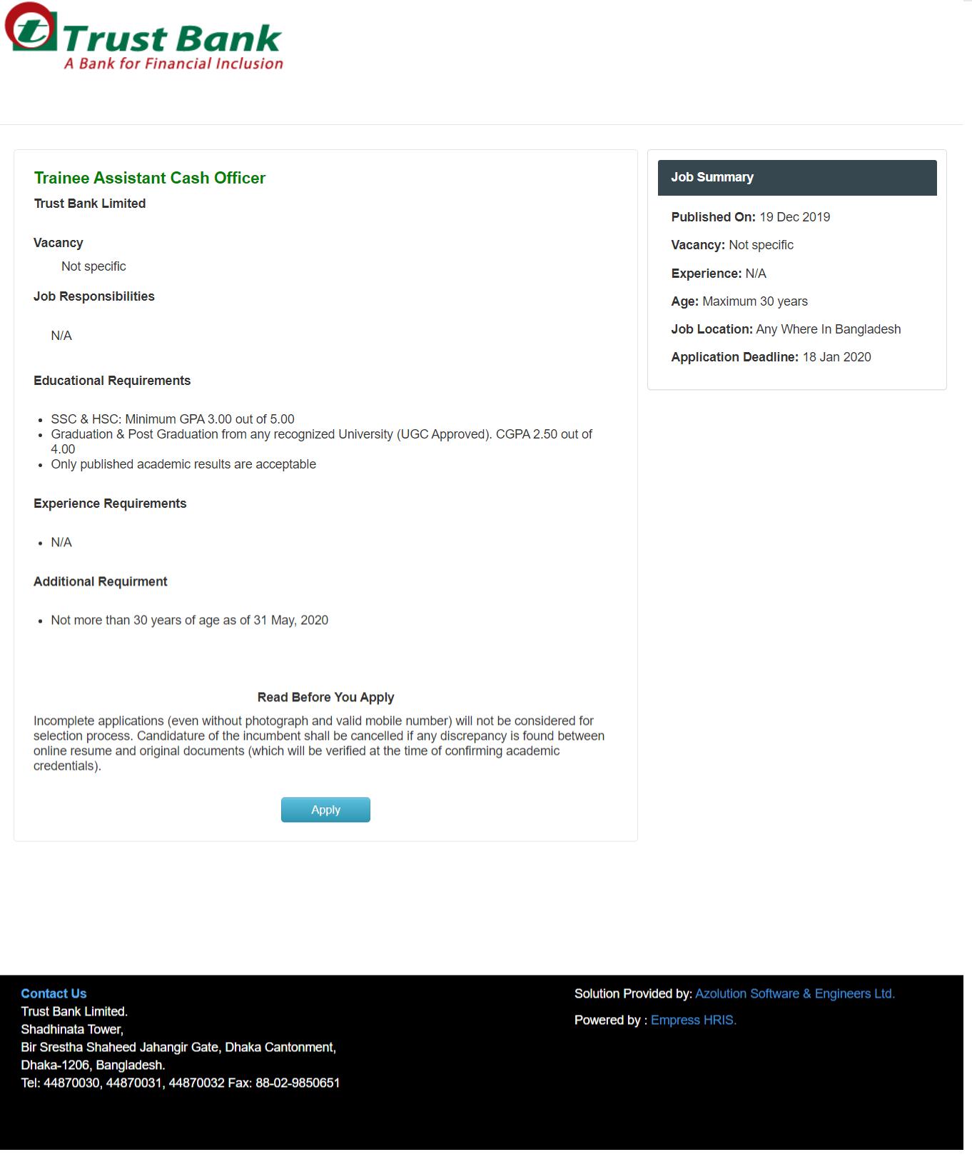Trust Bank Limited Job Circular 2020
