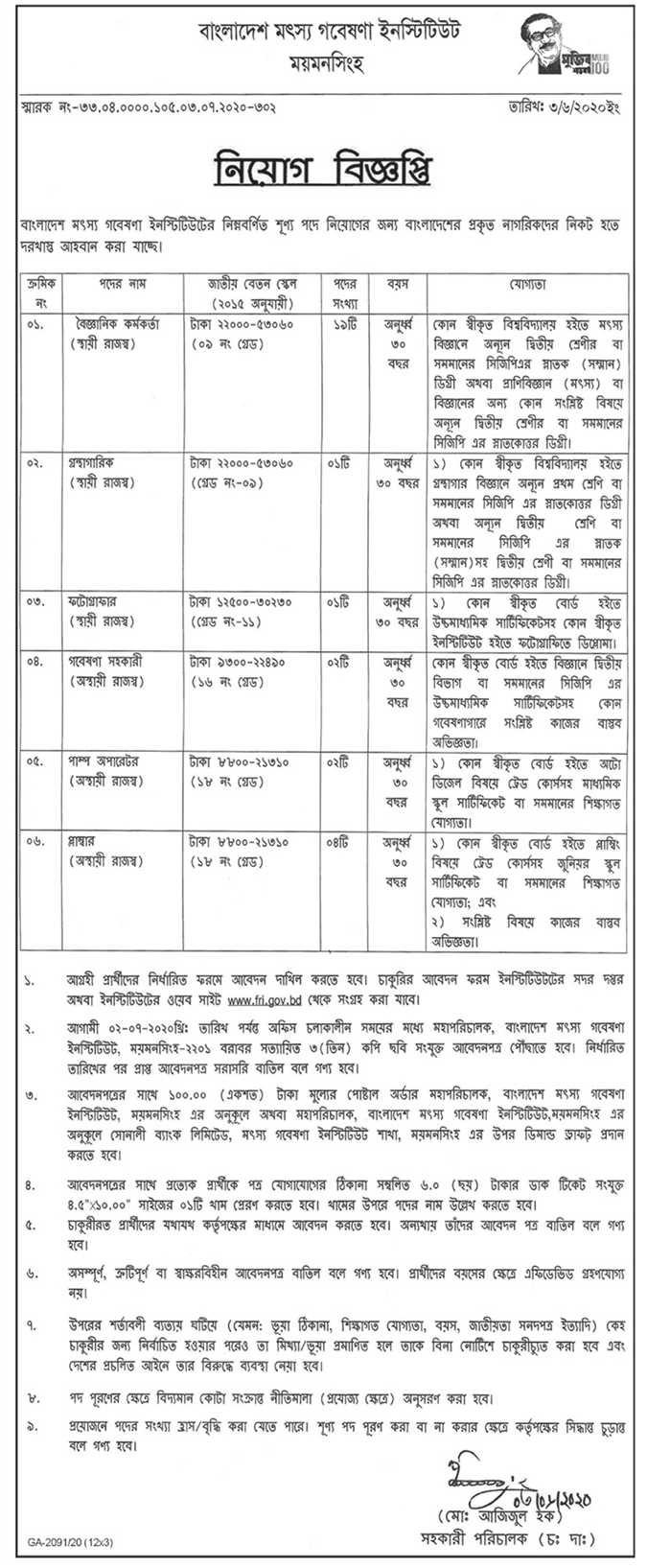 Bangladesh Fisheries Research Institute Job Circular 2020