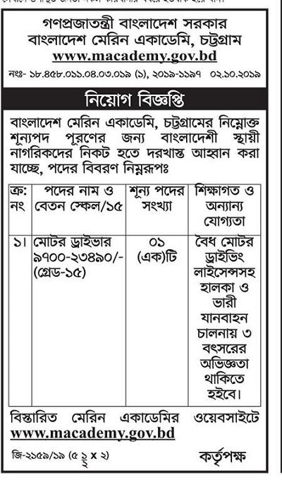 Bangladesh Marine Academy Job Circular 2019