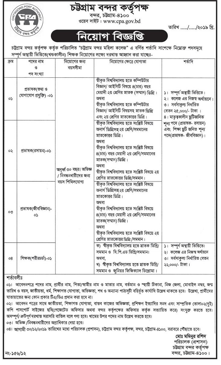 Chittagong Port Authority CPA Job Circular 2019