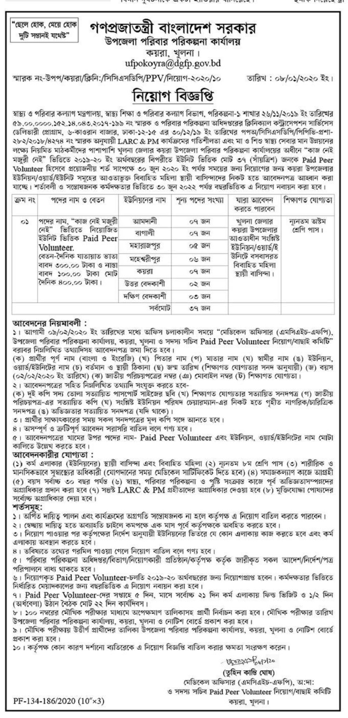 Directorate General of Family Planning (DGFP) Job Circular 2020