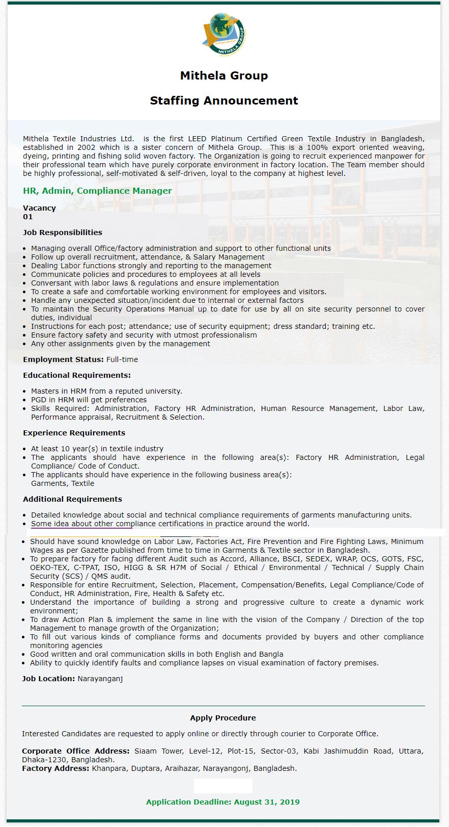 Mithela Textile Industries Limited Job Circular 2019