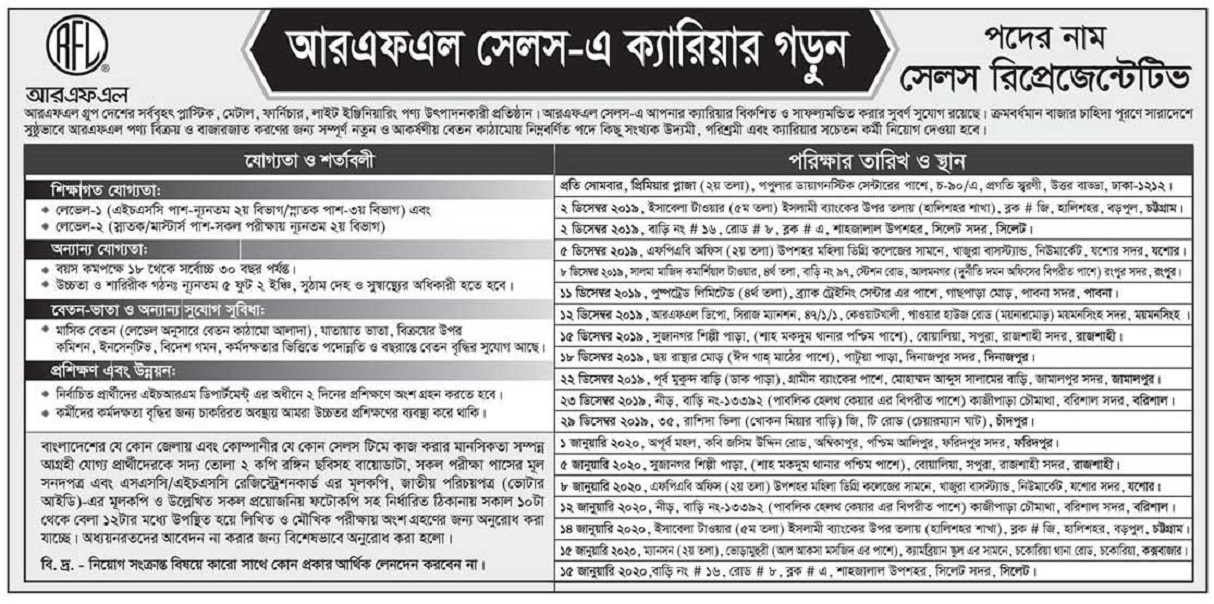 Pran-RFL Group Job Circular 2019