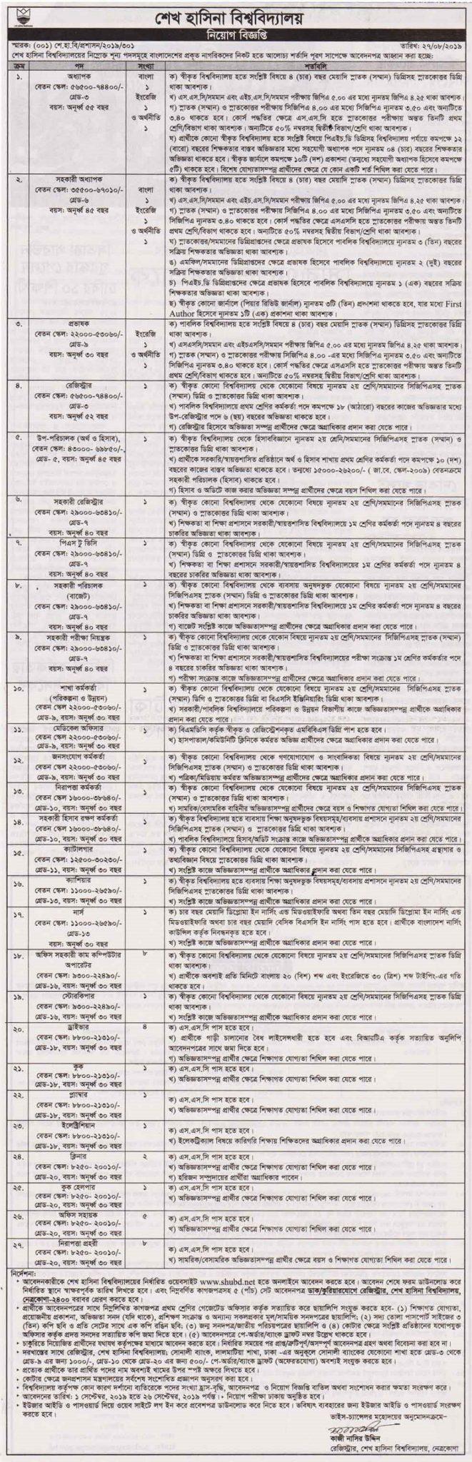 Sheikh Hasina University Job Circular 2019