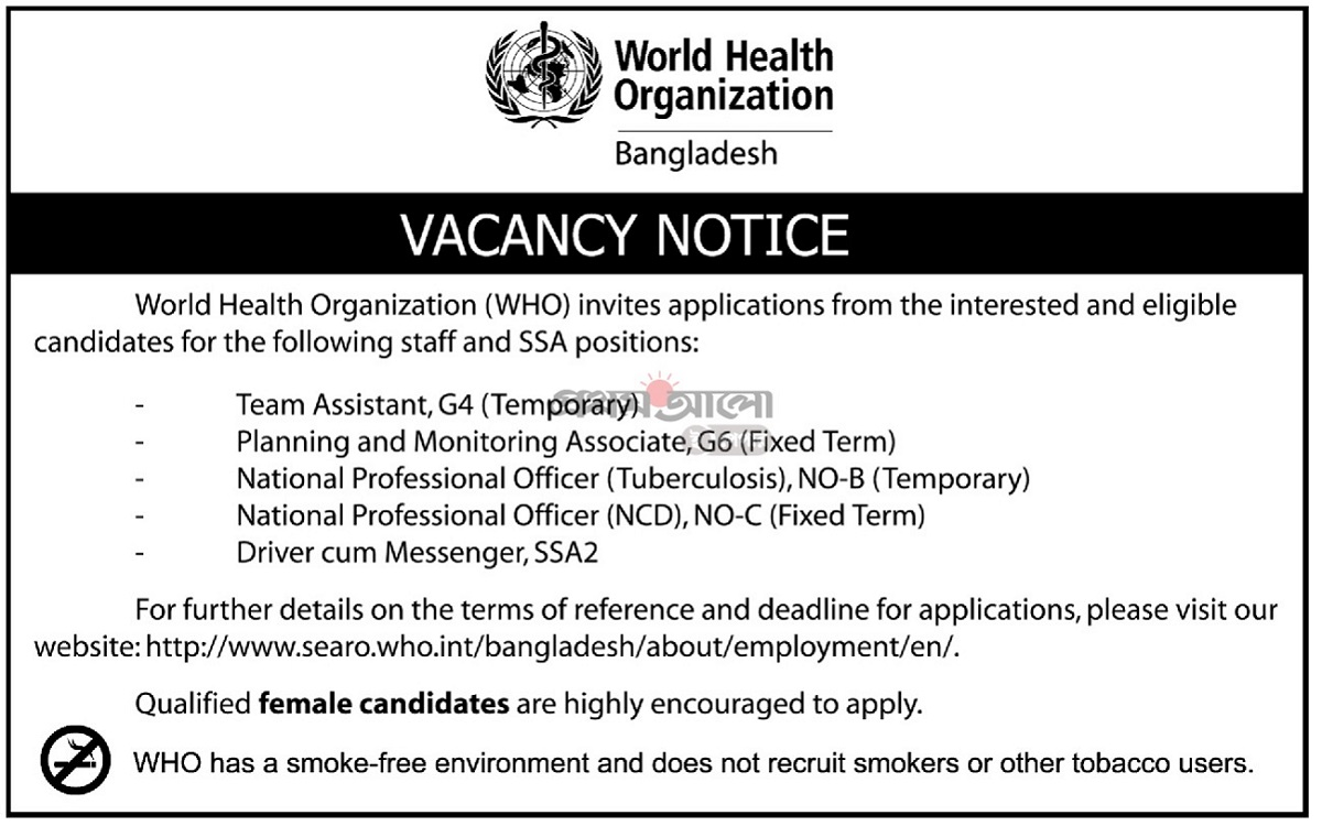 World Health Organization Job Circular 2019