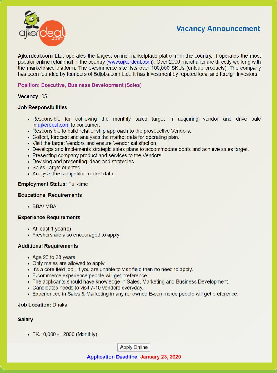 Ajkerdeal.com Ltd Job Circular 2020