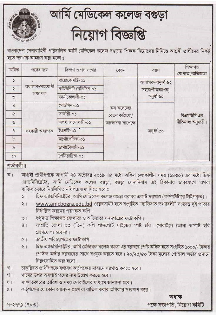 Army Medical College Job Circular 2019