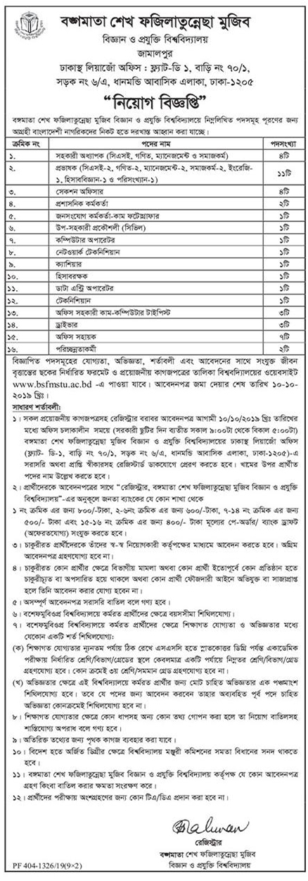 Bangamata Sheikh Fojilatunnesa Mujib Science and Technology University Job Circular 2019