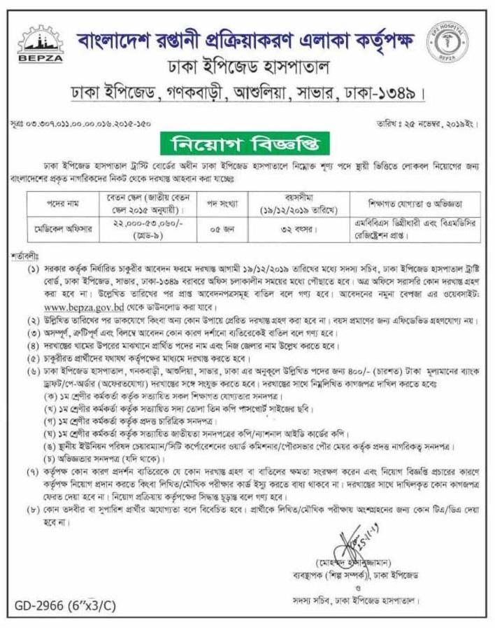 Bangladesh Export Processing Zone Authority (BEPZA) Job Circular 2019
