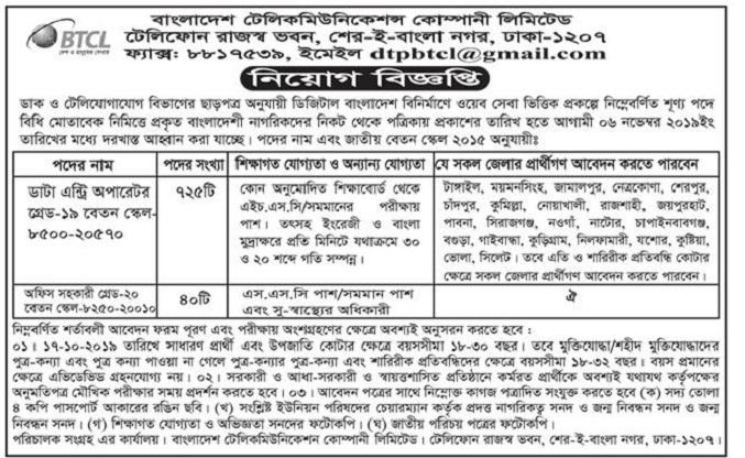 Bangladesh Telecommunications Company Limited (BTCL) Job Circular 2019