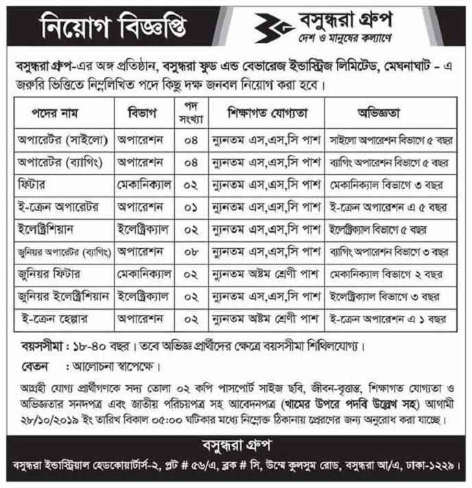 Bashundhar Paper Mills Ltd Job Circular 2019